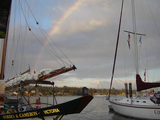 Rainbow over Forbes & Cameron in Cadboro Bay